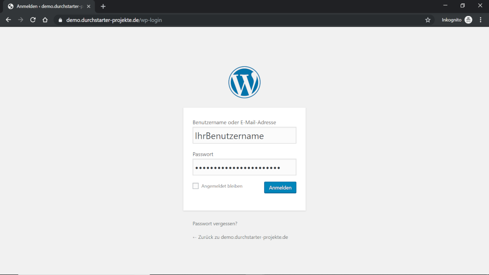 WordPress Backend Log In