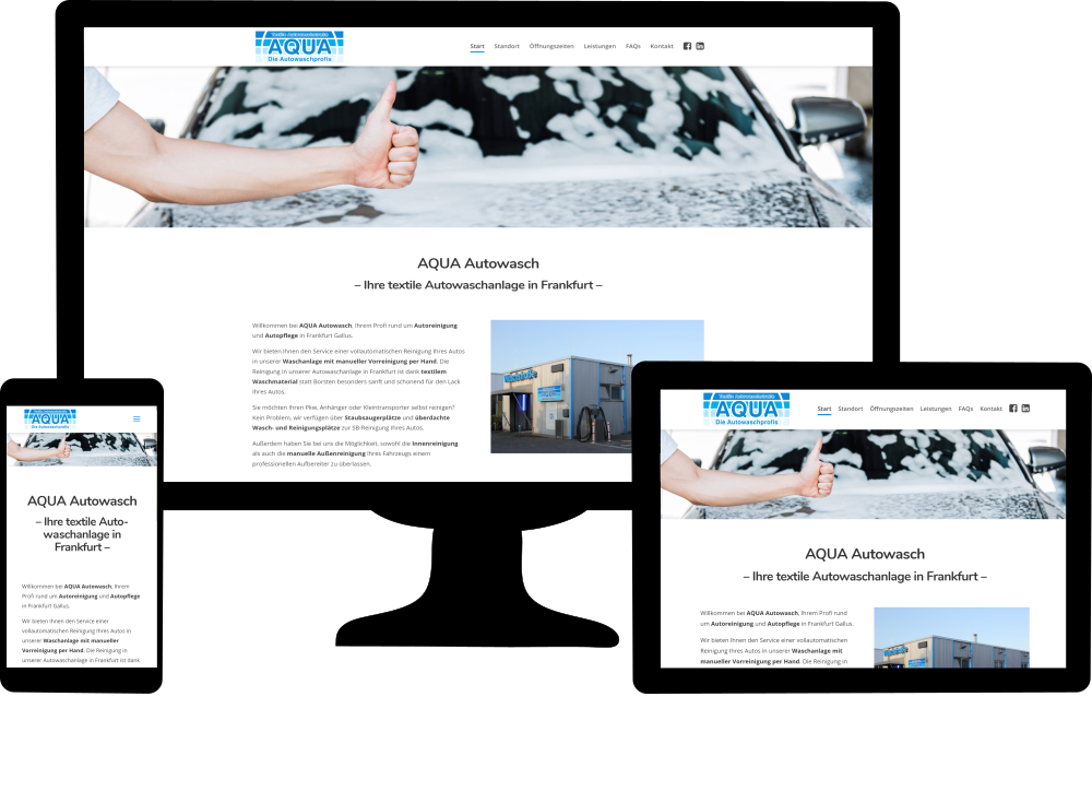 Kundenwebsite AQUA Autowasch